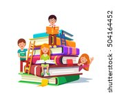 kids sitting and reading on a... | Shutterstock .eps vector #504164452