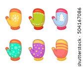 vector set of bright cartoon... | Shutterstock .eps vector #504167086