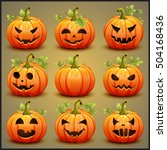 big set of pumpkins for... | Shutterstock .eps vector #504168436