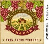 vintage colorful grapes harvest ... | Shutterstock .eps vector #504180112