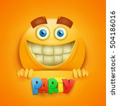 happy smiley yellow round face. ... | Shutterstock .eps vector #504186016