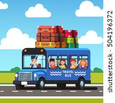 traveling bus with a luggage... | Shutterstock .eps vector #504196372