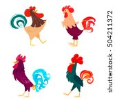 four stylized roosters on a... | Shutterstock .eps vector #504211372