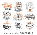 vector set of thanksgiving... | Shutterstock .eps vector #504225712