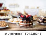naked cake with chocolate and... | Shutterstock . vector #504228346