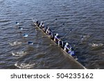 Small photo of BOSTON - OCTOBER 23, 2016: Wellesley College races in the Head of Charles Regatta Women's Collegiate Eights [PUBLIC RACE]