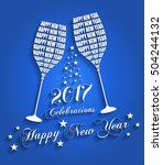 new year 2017 celebrations  ... | Shutterstock .eps vector #504244132