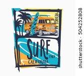 surf van typography  t shirt... | Shutterstock .eps vector #504252808