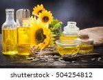 sunflower oil in bottle glass...   Shutterstock . vector #504254812