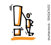 stick man with exclamation mark.... | Shutterstock .eps vector #504267652