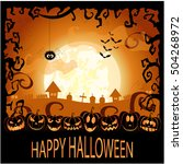 happy halloween greeting card... | Shutterstock .eps vector #504268972