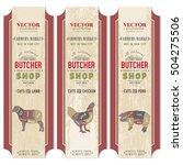 butcher shop  meat chicken ... | Shutterstock .eps vector #504275506
