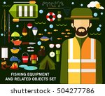 fishing equipment and related... | Shutterstock .eps vector #504277786