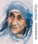 portrait of mother teresa also... | Shutterstock . vector #504278722