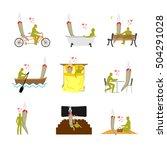 lover joint or spliff set.... | Shutterstock .eps vector #504291028