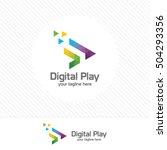 colorful media play logo design ... | Shutterstock .eps vector #504293356