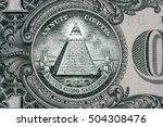 Small photo of all-seeing eye on the one dollar. New world order. elite characters. 1 dollar.