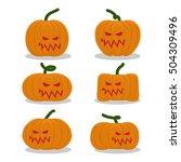 scary pumpkins for halloween... | Shutterstock . vector #504309496