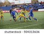 Small photo of DAUGAVPILS, LATVIA - October 16, 2016: game episode in a football match with contact. Latvian championship, high league. BFC Daugavpils - FC Ventspils 0:4