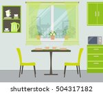 Modern Kitchen In Green Color....