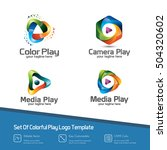 set colorful 3d media play logo ... | Shutterstock .eps vector #504320602