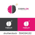 vector of a brain and bomb logo ... | Shutterstock .eps vector #504334132