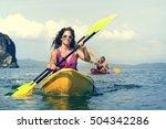 kayaking tropical vacation trip ... | Shutterstock . vector #504342286