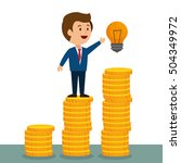 cartoon man money earnings... | Shutterstock .eps vector #504349972