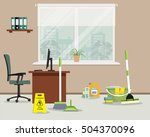 cleaning in the office. green... | Shutterstock .eps vector #504370096