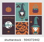 halloween set. cute witch in... | Shutterstock .eps vector #504372442