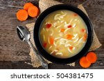 traditional chicken noodle soup ... | Shutterstock . vector #504381475