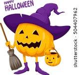 cartoon halloween pumpkin... | Shutterstock . vector #504407962