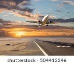 a passenger plane in flight.... | Shutterstock . vector #504412246