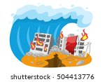 tsunami destroyed building . | Shutterstock .eps vector #504413776