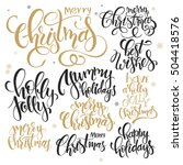 vector set of hand lettering... | Shutterstock .eps vector #504418576