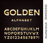golden alphabet font. metal... | Shutterstock .eps vector #504432442