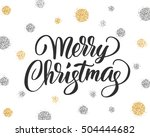 merry christmas card with hand... | Shutterstock .eps vector #504444682