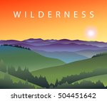 landscape with mountain peaks ... | Shutterstock .eps vector #504451642