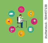 laboratory equipment set line... | Shutterstock .eps vector #504457138