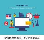 digital marketing set line...   Shutterstock .eps vector #504461068