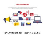 digital marketing set line... | Shutterstock .eps vector #504461158