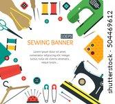 sewing handcraft poster flat... | Shutterstock .eps vector #504469612