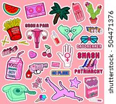 set of patches  stickers ... | Shutterstock .eps vector #504471376