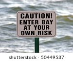 caution sign with sea behind... | Shutterstock . vector #50449537