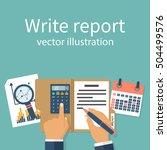 businessman writes a financial... | Shutterstock .eps vector #504499576
