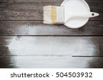 bank paints and brush on a... | Shutterstock . vector #504503932