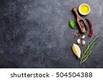 herbs and spices. cooking... | Shutterstock . vector #504504388