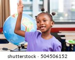 afro american girl at... | Shutterstock . vector #504506152