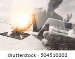 double exposure business team... | Shutterstock . vector #504510202