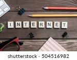 workspace desk with keyboard... | Shutterstock . vector #504516982